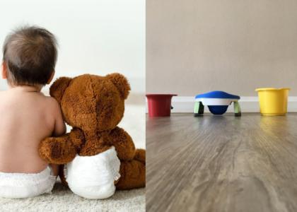Baby und Fairwindel-Bär mit Windel und Abhaltetöpfchen